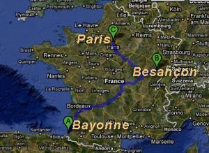 Roteiro da Viagem: de Paris a Besançon, depois de volta a Paris para ir a Bayonne e Pau. O trajeto foi percorrido de trem.