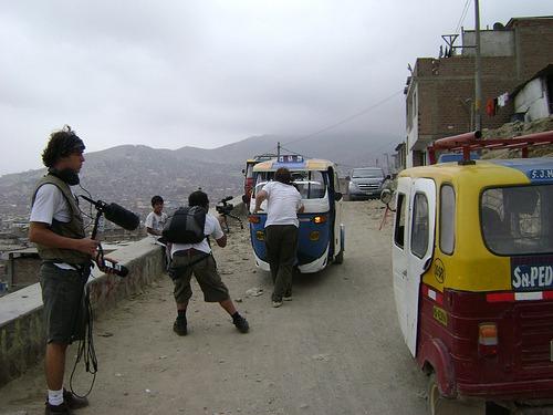 Posicionamento da equipe durante as filmagens em Lima.