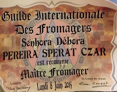 Esse diploma destaca o trabalho dos profissionais que dedicam sua vida aos queijos.